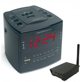 Covert Digital Wireless Cube Alarm Clock with RCA Receiver