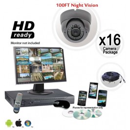 16 Dome Camera System 700TVL Vandal Proof