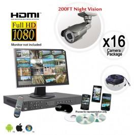 FULL HD 16 Camera Surveillance System Long Range Infrared