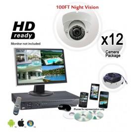 12 Dome Camera System Vandal Proof 700TVL - White