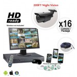 16 Camera Security System with 200ft Night Vision 700TVL