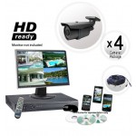 600TVL Four Camera System with H264 Video Recorder - 200ft Night Vision
