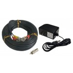 100ft Security Camera Cable Pack - 100ft Siamese Video Power Cable and 2 Amp Power Supply