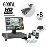 8 Camera Security System with 620TVL Cameras 130ft Night Vision