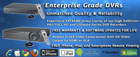 All CCTV Systems from 123CCTV come with Enterprise Grade DVRs